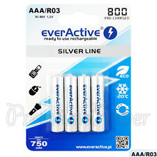4 x everActive AAA Rechargeable batteries Silver Line min 750mAh 800mAh Ni-MH