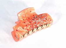 New Orange Flower Pearl Marble Hair Clip Claw w/ Clear and Orange Crystals