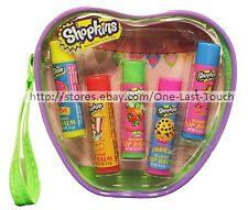 MOOSE ENTERPRISE* 6pc Lip Balm/Gloss Set SHOPKINS w/Cosmetic Bag SCENTED 1/2