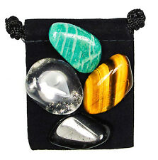 BRAIN BALANCE Tumbled Crystal Healing Set = 4 Stones + Pouch + Description Card
