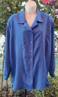 MAGGIE SWEET Cobalt Blue Button Up Blouse Style 5691 Sketched Floral Petite P1X