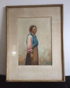 "Original Vintage Painting Of ""Sherpa Woman"" - Signed G Douglas"