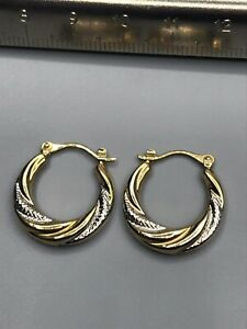 9ct SMALL 2 COLOUR CREOLE EARRINGS
