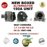 FOR SEAT CORDOBA 1.7 1.9 SDi TDi 2.0 6K 6L 1997-ON NEW 150A ALTERNATOR UNIT