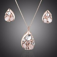 Sparkly Crystals Rose Gold Plated Pendant Chain Necklace Earrings Jewelry Set