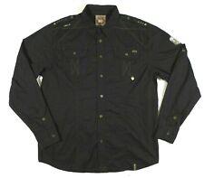 Akademiks AKDMKS Long Sleeve Button Front Fashion Shirt Mens XL Black Pockets