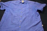 Joe Marlin Solid Blue Poly/Rayon Short Sleeve Large Men's Shirt
