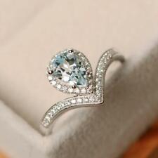 Solid 14K White Gold Natural Diamond Blue Aquamarine Promise Ring Gems Jewelry