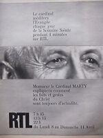 PUBLICITÉ 1974 RTL AVEC LE CARDINAL MARTY SEMAINE SAINTE -ADVERTISING