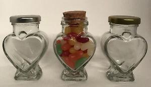 100ML  HEART SHAPED GLASS JAM JAR - CORK, GOLD, OR SILVER LIDS - SAMPLE ONLY