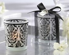 12x Damask Frosted Glass Tea Light Candle Holder Wedding Bridal Party Favor Gift