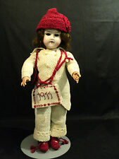 """Beautiful Antique 17"""" German Bisque Head, Open Mouth Doll, Knitted Clothing"""