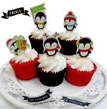 10 Penguin | Natale Decorazioni Per Inverno | Pop Top Cupcake | | DECORAZIONE TORTA