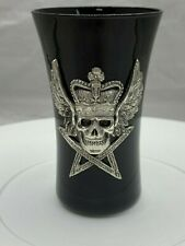 "Skull with Crown Shot Glass - 3.25"" tall Black and Silver"