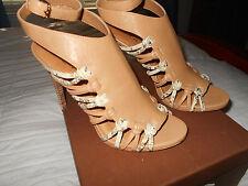 COACH Jody veg leather print Python sandals 7.5 m natural/bone  New in box