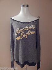 NEW AMERICAN EAGLE WOMENS OFF-SHOULDER POPOVER AE SWEATSHIRT SWEATER GRAY M