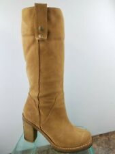 Ugg Josie Brown Leather Shearling Lined Pull Up Mid Calf Winter Boots Womens 6.5