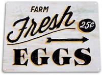 """Fresh Eggs 25c"" Metal Decor Wall Art Farm Store Kitchen Bar Sign"