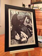 "FRAMED ORIGINAL, RARE VAN HALEN ""FAIR WARNING"" LP ALBUM CD PROMO AD + FREE BONUS"
