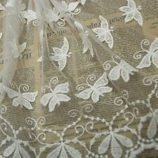 Newly Embroidered Lace Tulle Butterfly White Trims Sew Clothes Decoration 1 Yard