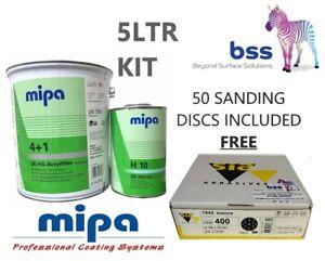 MIPA 4+1 ACRYLFILLER PRIMER LIGHT GREY + H10 HARDENER 5L KIT + 50 ABRASIVE DISCS