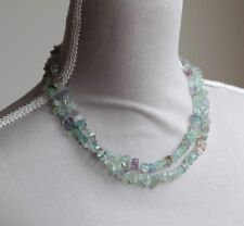"MULTI COLOURED FLUORITE LONG LINE NECKLACE 36"" LENGTH PALE GREEN, BLUE & PURPLE"