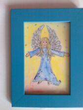 Schutzengel-Bild, handgemalt,10,4 cmx 15,3cm, Original,Glitzer,mit blauem Rahmen