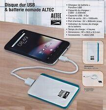 DISQUE DUR 4GO USB & BATTERIE NOMADE EXTERNE ALTEC Neuf