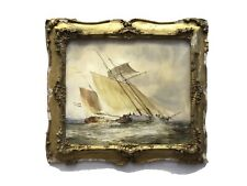 Old Watercolour painting sailing  boats yachts at sea Antique gold frame