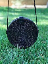 BALI Black Round Rattan Bag - Handmade in Bali - US Seller!