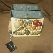 Farmhouse Painted Galvanized Metal Utensil Caddy 4 Compartment
