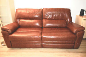 2 yr old Parker Knoll brown leather 3 seater double power recliner sofa
