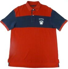 TOMMY HILFIGER Men's XL POLO Golf Shirt RED Blue Spell Out Large Lion Patch Logo