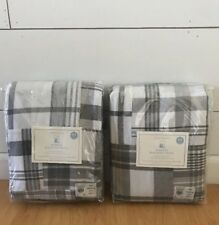 "NEW 2 POTTERY BARN KIDS 84"" MADRAS GRAY WHITE PLAID NAUTICAL BLACKOUT PANELS"
