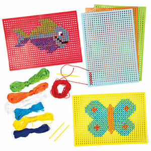 Cross Stitch Kits Kids Sewing Fun Create Design Embroidery Crafts Age 5+ Gift