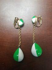 Vintage CROWN TRIFARI  GREEN WHITE LUCITE BEACH BALL DANGLE CLIP EARRINGS