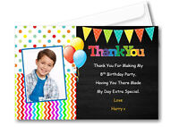 12 Personalised Colourful Boys , Girls Thank You Cards With Photo Envelopes TH14