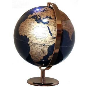 STUNNING World Globe Navy Blue Rose Gold Home Decor Wedding Birthday Gift 25cm