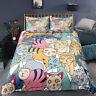 3D Blue Cartoon Cat Duvet Quilt Cover Bedding Set Comforter Cover Pillow Case