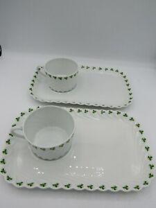 Haviland Limoges Pair Shamrock Trefle Green Vert Coffee Cup & Trays