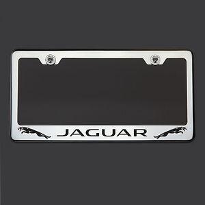 T304 Polish Mirror Stainless Steel Jaguar Black Laser Etched License Plate Frame