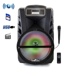 "beFree Sound 12"" Bluetooth Portable PA DJ Party Speaker Reactive Lights MIC USB"