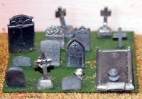 Grave Tombstones F20 UNPAINTED OO Scale Langley Models Kit 1/76 Scenery Metal