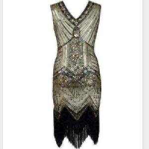 Great Gatsby Costume 1920's Cocktail Party Sequin Fringe Flapper Dress