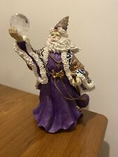 Wizard Large Statue Holding Crystal Ball 12� Tall Purple And Gold