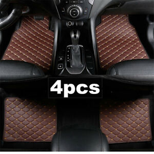 4x Front/Rear Coffee Color Soft PU Leather Carpet Car Interior Floor Mats Set