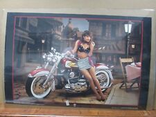 Heritage Softail Cafe FLSTC Bike car garage poster 1989 Biker Hot Girl Inv#G1238