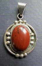 - Signed Cii .925 Mexico Sterling & Brown Stone Pendant