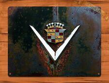"TIN SIGN ""Cadillac Logo Rust"" Garage Auto Rustic Wall Decor"