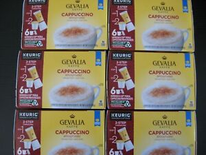 Gevalia Cappuccino K Cups Pods w/ Froth Packets 36 Count 6 Boxes of 6 BB 07/21